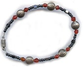 Red and Black Beads with Hematite Bracelet Magnetic Closure