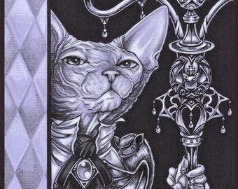 Sphynx Cat Print Devon Rex Victorian Cat Wall Decor Gothic Wall Art Illustration Edgar Allan Poe Cat Lover Gothic Gift for Her Halloween