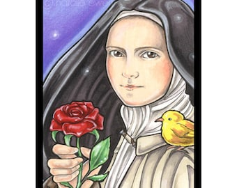 Saint Therese and Red Rose Signed Art Print -You Choose- 2.5x3.5, 5x7 or 8x10 In., Little Flower Lisieux France Carmelite Nun Female Girl