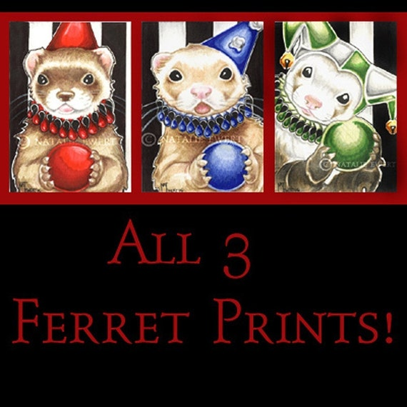 3 Funny Ferret Trio Art Prints-You Choose-2.5x3.5, 5x7 or 8x10 in., Set Mask Sable Cinnamon Brown Juggler Clown Fool Jester Anthro Ren Fair