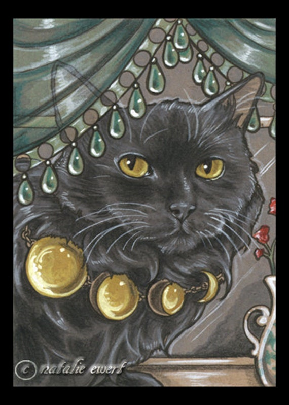 Bejeweled Cat 53 Art Print - You Choose - 2.5x3.5, 5x7 or 8x10 In., Black Cat Phases of Moon Necklace Long Hair Persian Feline Lunar Cycle