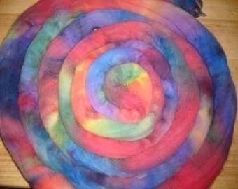 Wool Roving Comb Top - Suprised Handdyed Colorway Monthly Club