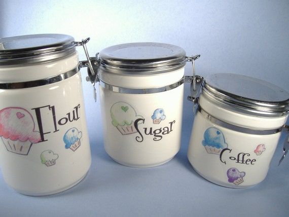 cupcake canisters for kitchen super mega cupcake kitchen canisters by inhope on etsy 3698