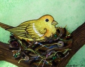 Bird Nest no. 2 Watercolor and Found Object Art Print