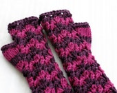 RESERVED CUSTOM Listing for Stephani1952 - Purple Stripe Lace Fingerless Gloves