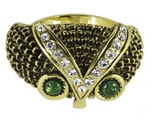Emerald Green Owl Ring- SPECIAL SALE