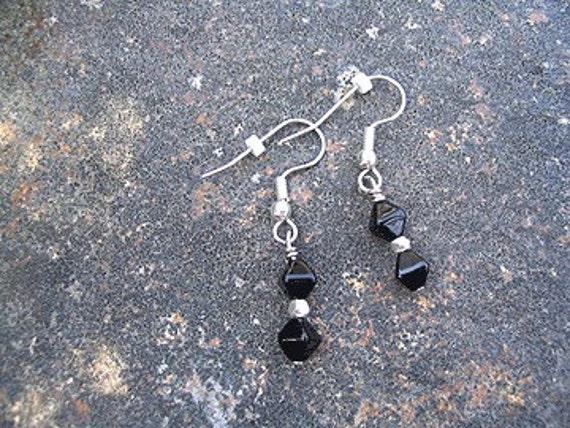 Black glass dangle earrings