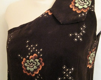 Vintage Embroidered Brown Velvet Gown