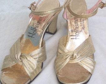 Vintage Gold Strappy Sandals
