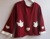 Lovebirds red womens reconstructed sweater