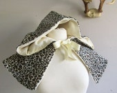 Hooded Short Capelet, reversible cream velvet and leopard print
