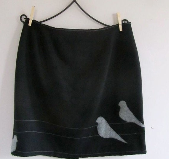 Urban Birds Pencil Skirt - reconstructed eco friendly clothing