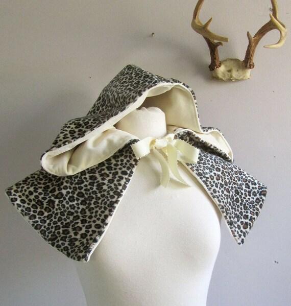 Hooded Short Capelet, reversible cream velvet and leopard print