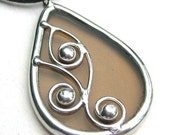 Spirals - teardrop stained glass pendant (971)