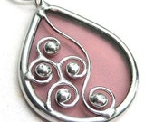 Spirals - teardrop stained glass pendant (1025)