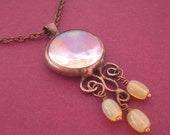 Vintage style glass gem pendant 1430 (chain included)