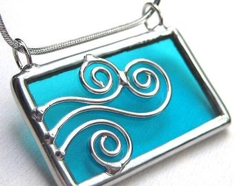Spirals wave - Stained glass pendant (847)