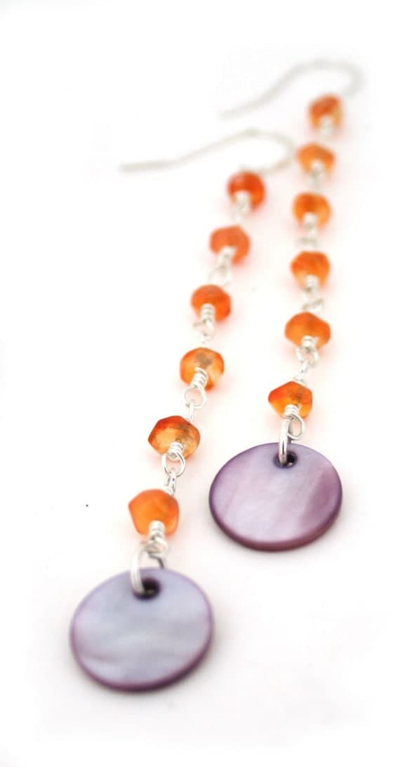 Very Clearance Sale- Phoenix long drop earrings with shell sequins