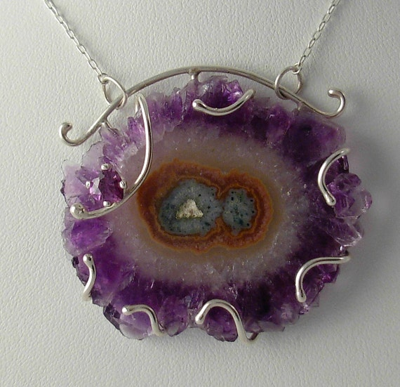 Geologic Love Affair (Amethyst Stalactite Slice and Sterling Silver Necklace)