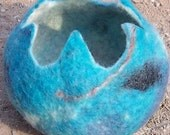 FELT BOWL in Turqoise Blue and White with Red flecks