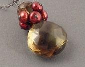 Taste of Autumn Necklace, Smoky Quartz, Bicolor Quartz, Freshwater Pearls, Oxidized Sterling Silver