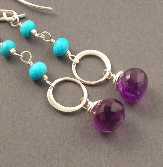SALE Bright Earrings, Turquoise, Amethyst, Sterling Silver
