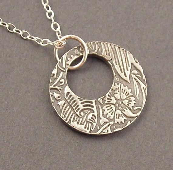 SALE - Floral Ring Necklace, Fine Silver, Sterling Silver Necklace, erinelizabeth