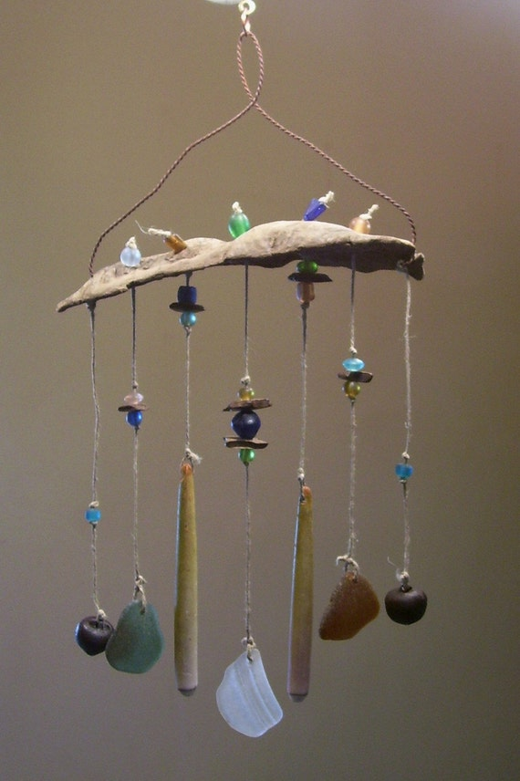 genuine sea glass wind chime suncatcher by beachbaublestm