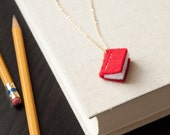 Book Necklace - Librarian Jewelry - Red - Eco Felt - Fiber Necklace - Vegan - Writer