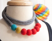 Color Story Bold Statement Knit Necklace - Yarn Cord - Felt Beads - Long Modern - Icord