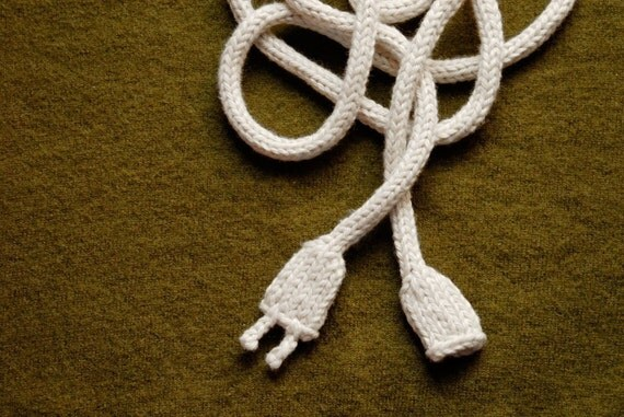 Knitted Power Cord - White - Geek Toy - Knit Art - Necklace - Belt - Accessory - Quirky