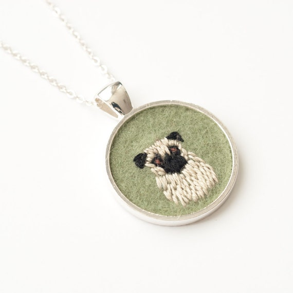 Pug Dog Embroidered Felt Necklace