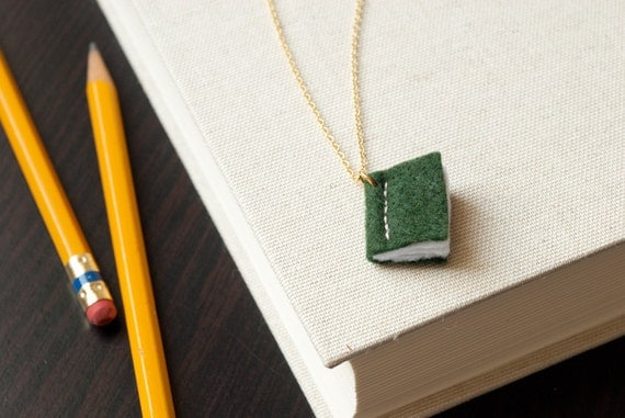 Book Necklace - Green Pendant - Eco Felt - Vegan - Stitched - Teacher Gift