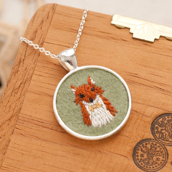 Embroidered Fox Felt Necklace with Bow Tie