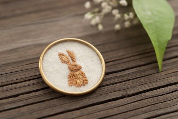 Rabbit Jewelry - Bunny Jewelry - Embroidered Brooch - Bunny Pin - Stitched Felt - Brass Circle - Woodland Animal