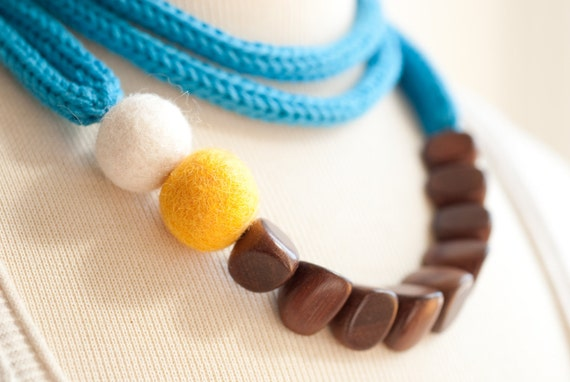 Knit Color Story Bold Statement Necklace - Geometric Wooden Beads - Felt Beads - Long or Short