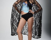 SALE Limited Edition New York Couture Vintage SHEER Black Lace Cape