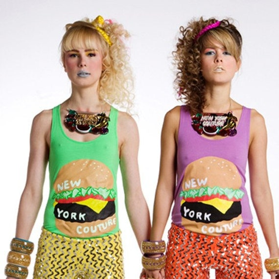 Limited Edition New York Couture DELICIOUS DREAM COLLECTION Neon Green BURGER Tank Top