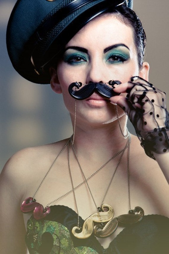 Limited Edition New York Couture Fairytale Collection BLACK MUSTACHE Necklace