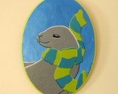 Seal in a Scarf original painting