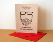 Behind Every Clever Girl is a Guy with a Beard and Glasses card (fire engine red)