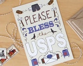Please Bless the USPS - mail carrier appreciation card (single postcard)