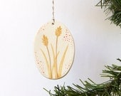 Everyday Ornament - tiny painting on clay - wheat - no. 15
