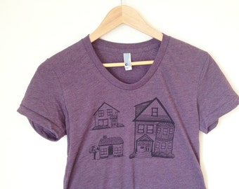 Little Houses tshirt, architecture shirt, victorian houses, neighborhood tee, heather plum (women's XL)