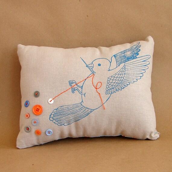 The Button Collector no. 94 (Button Bird Pillow)
