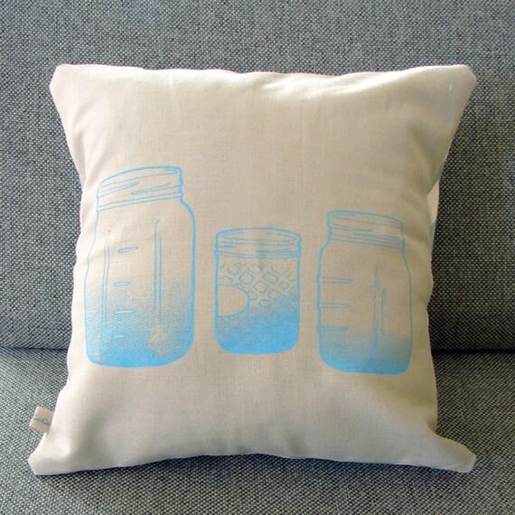 Blue Mason Jars pillow cover (grey)