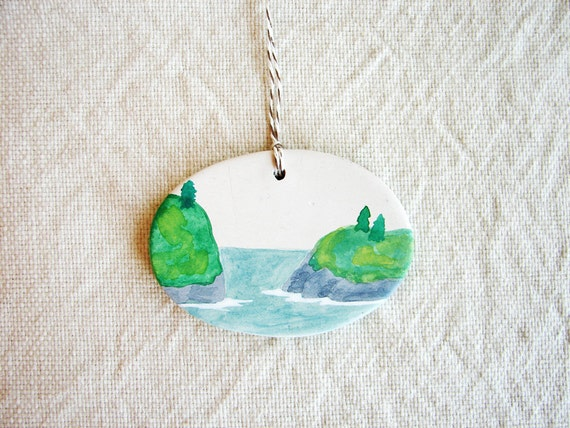 Two Islands - tiny watercolor painting - hand painted clay ornament