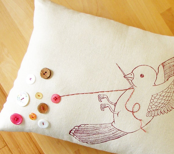 Handmade Embroidered Pillow - The Button Collector (antique rose)