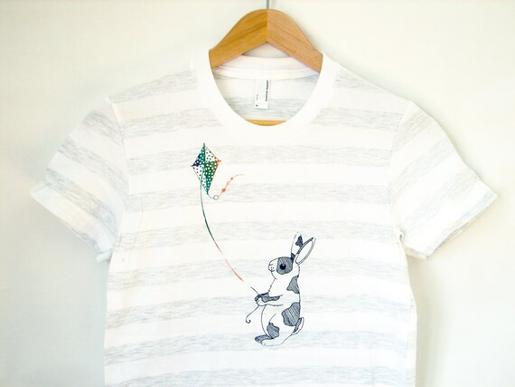 Rabbit flying a kite shirt (ash stripe - women's M)
