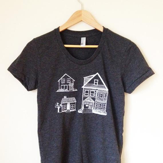 Little Houses tshirt - heather black (women's XL)